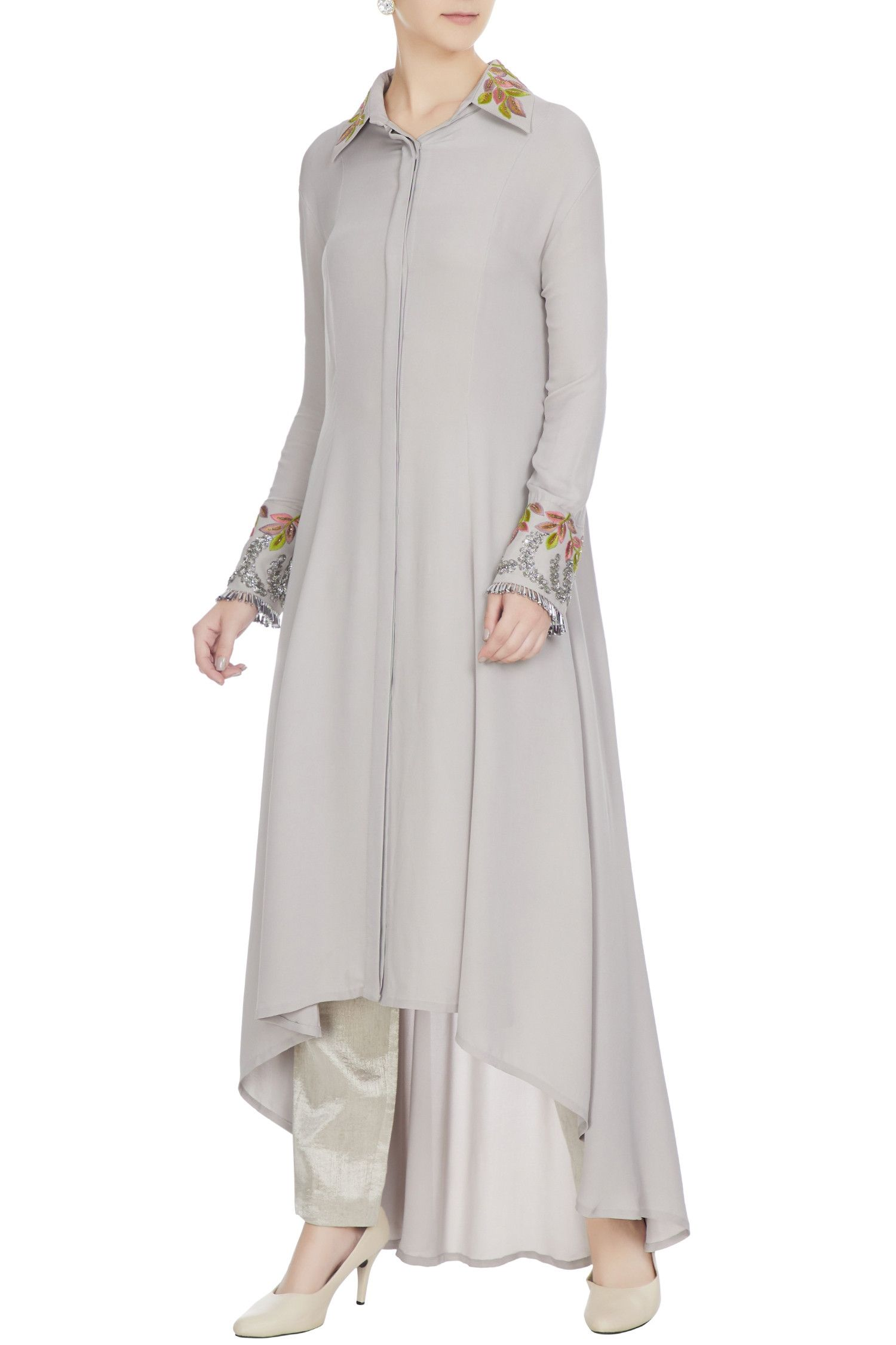 77b958a19df Buy Grey double georgette resham embroidered tunic by Manish Malhotra at Aza  Fashions