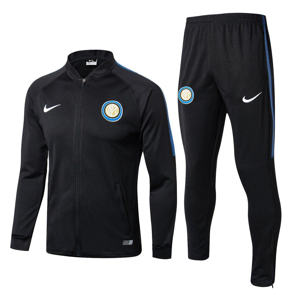 Inter Milano Black Mens Training Sports Jersey Tracksuit Jacket Sets