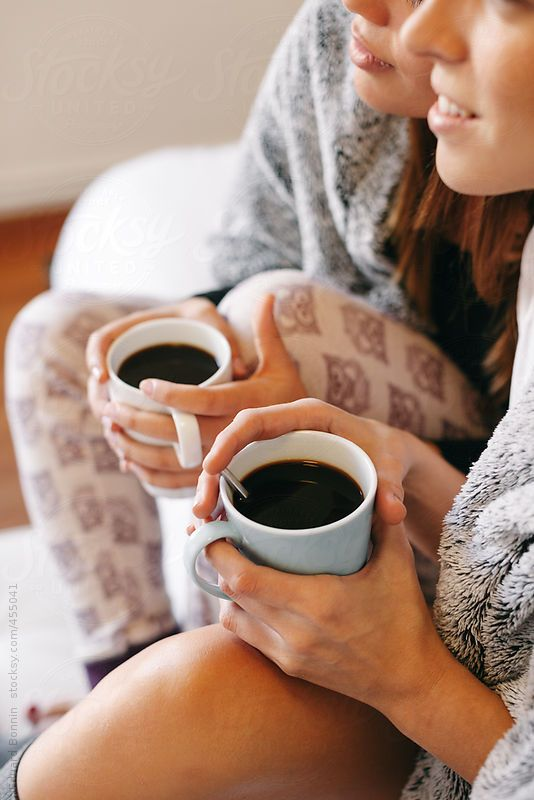 Two Roommates Warming With Cozy Blanket Drinking Coffee At Morning By Bonninstudio Cozy Blankets Coffee Drinks Cozy
