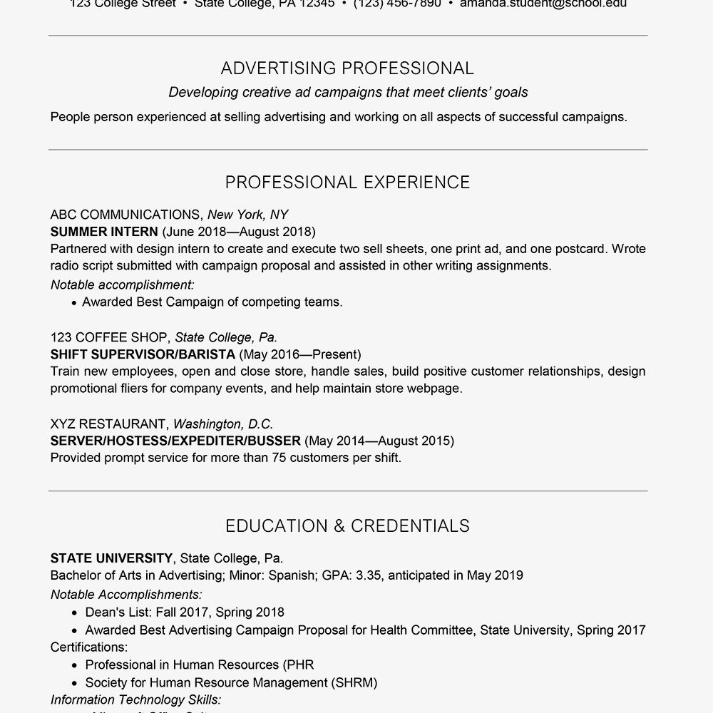 Professional Resume Examples For College Students Dalep