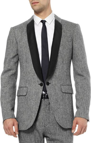 97bd8f6a3f580 Alexander Mcqueen Wool Blend and Satintwill Tuxedo Jacket in Gray for Men -  Lyst