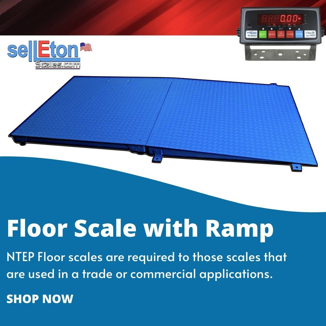 5000 Lb X 1 Lb Selleton 48 X 48 Pallet Size Floor Scale with A Ramp