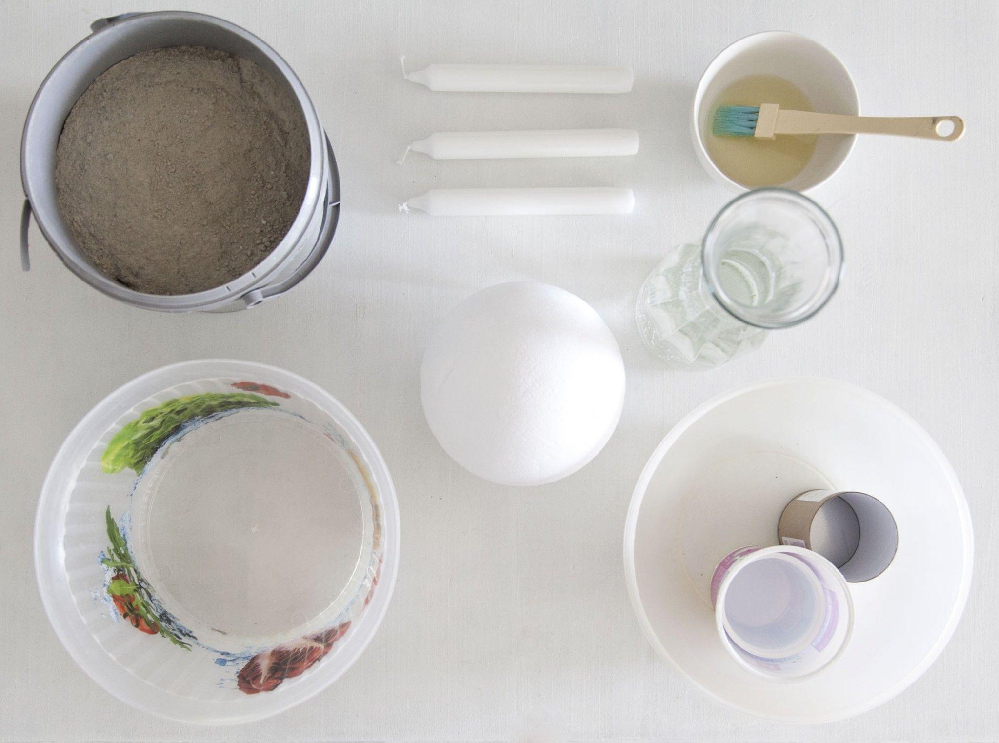 Basteln mit Beton: Das benötigst Du für eine Beton-Schale oder Kerzenständer.
