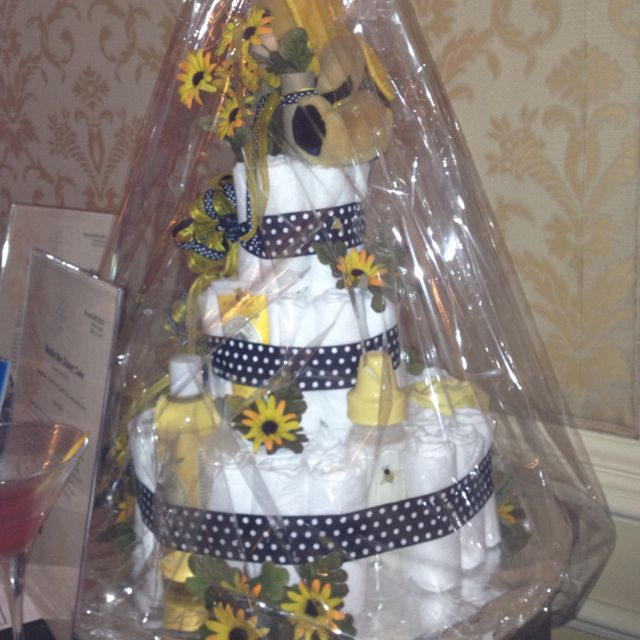 A step above your average diaper cake, with Burt's Bees products mixed in.