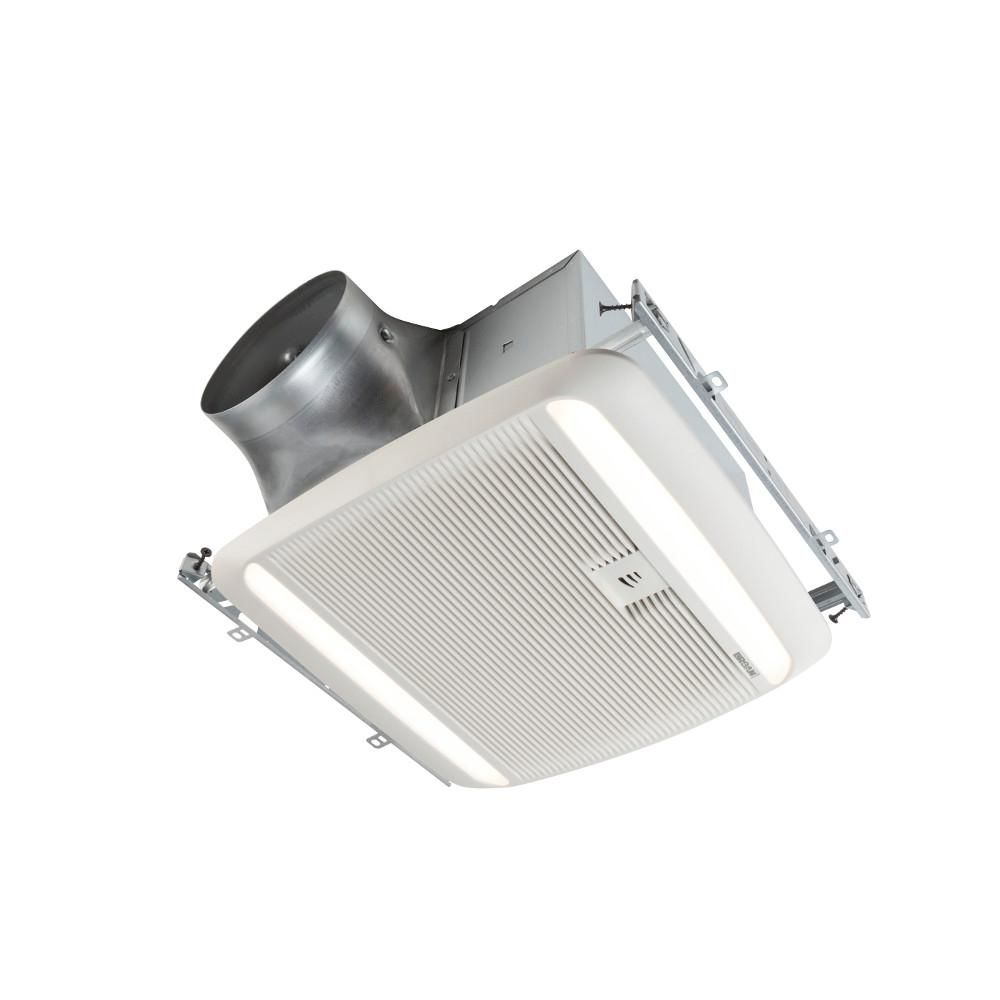 Broan Ultra Green Zb Series 110 Cfm Multi Speed Ceiling Bathroom Exhaust Fan With Led Light And Humidity Sensing Energy Star White Bathroom Exhaust Fan Led Bathroom Fan Light