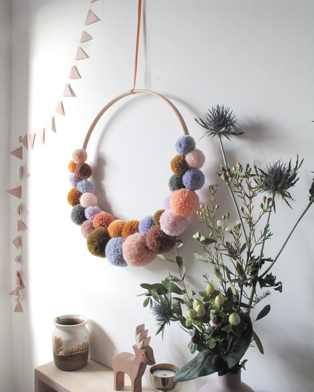 Photo of Large Pom Pom Wreath in Multi Color Mix