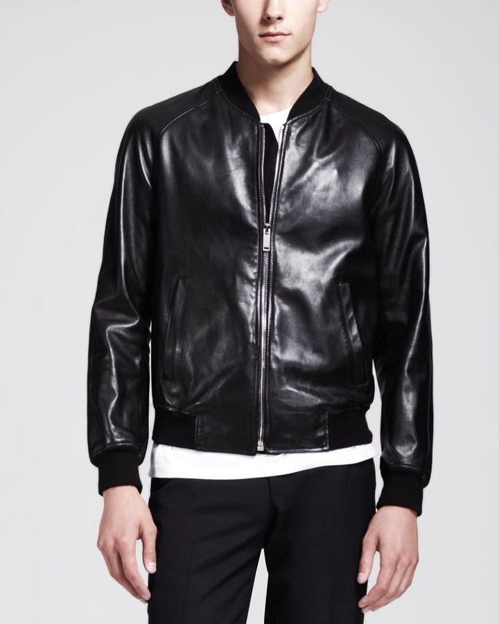 de09e8730 Pin by Lookastic on Men's Leather Jackets | Black leather bomber ...