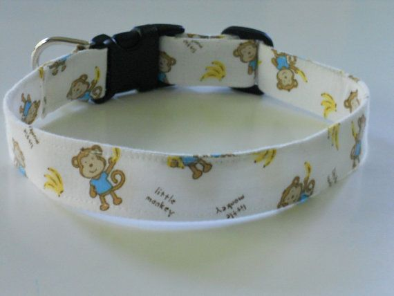 Dog Collar  Mad About Monkeys by FourPawsJewelry on Etsy, $15.00