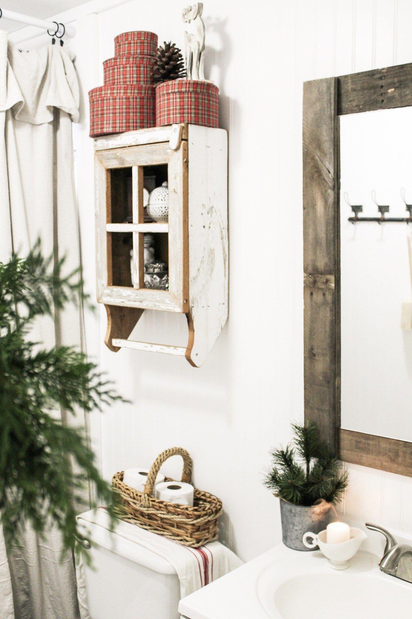 Farmhouse Christmas Bathroom Cottage Christmas Decor Rustic