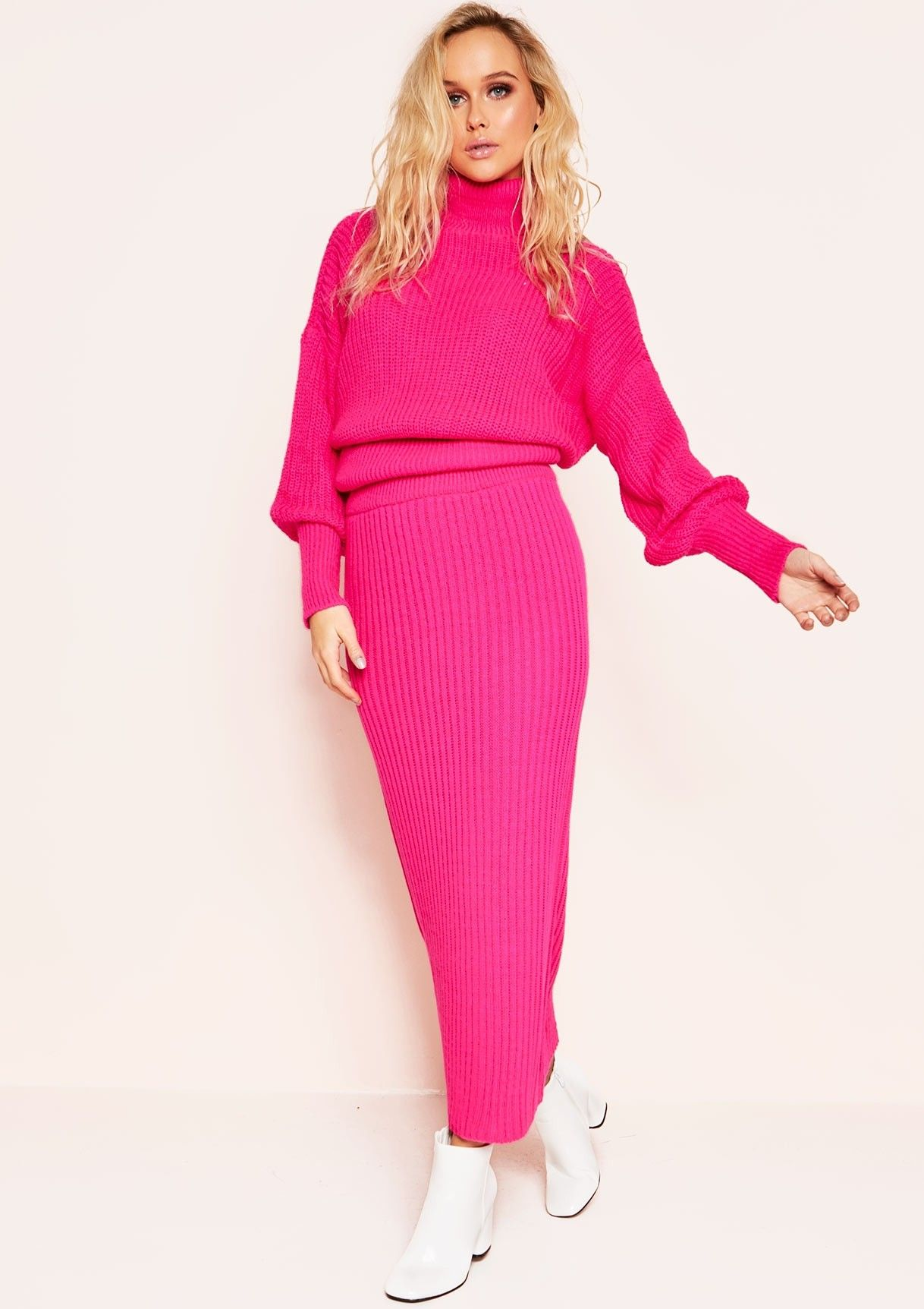 Missyempire - Vicki Neon Pink Knit Jumper Midi Co-ord Set e7ce7a272