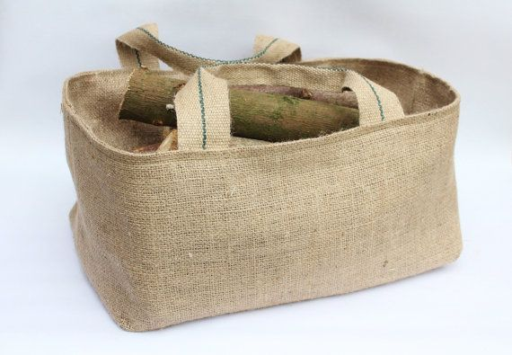 16 inch Hessian Burlap Firewood, Garden & Harvest Bag, Basket, Rustic Jute Storage - UK - Gardening, Trug, Kindling Bag, Tidy, Tool Holder