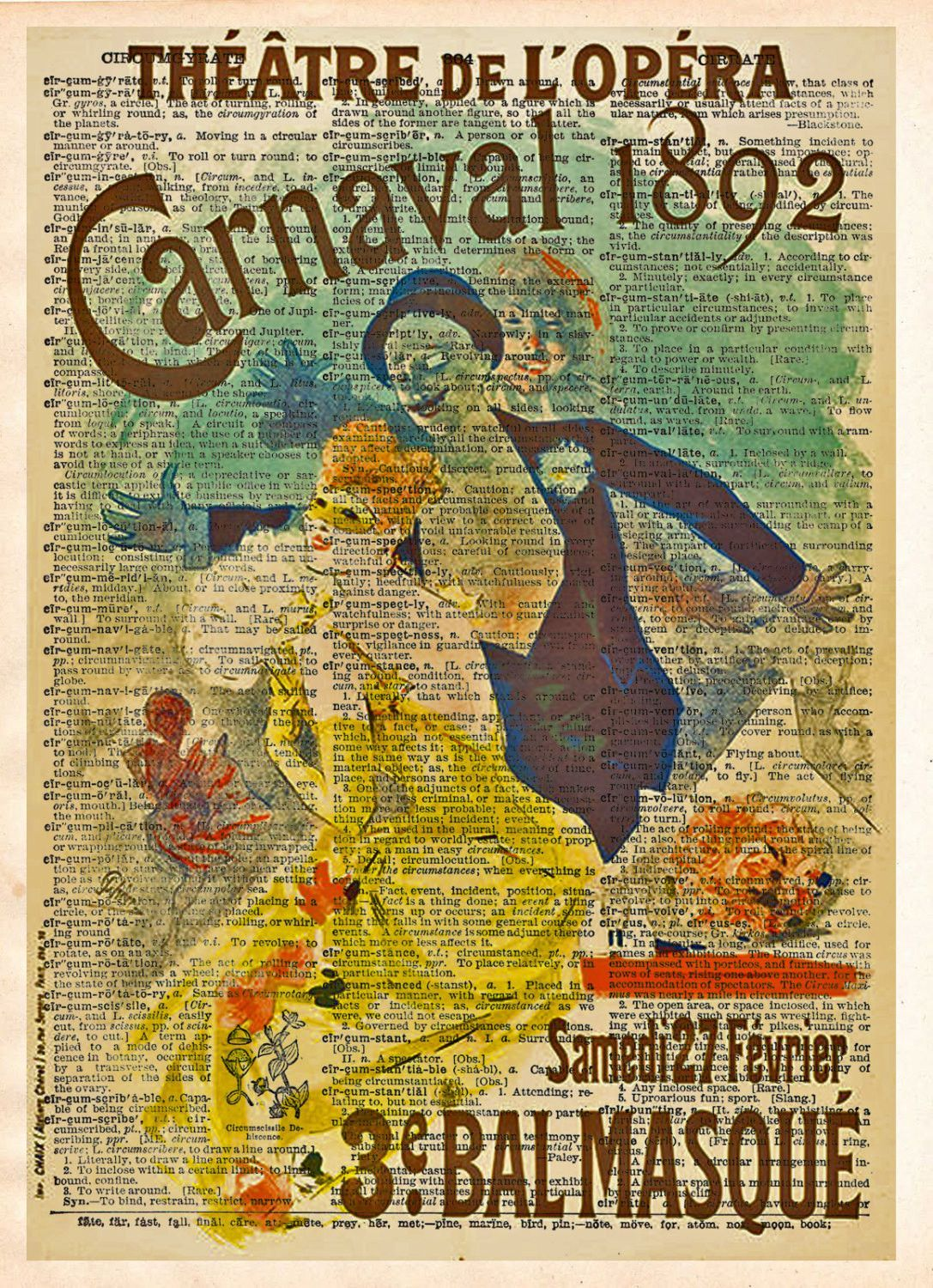 Theatre poster, unique wall art, Carnaval Opera poster 1892 ...