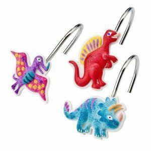 Dinosaur Friends Kids Colorful Bathroom Shower Curtain Hooks
