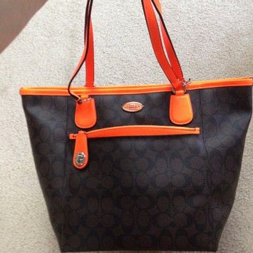 Coach F34080 Brown Neon Orange Signature Leather Tote 43 Off Retail Orange Tote Bags Leather Tote Coach Zip Tote