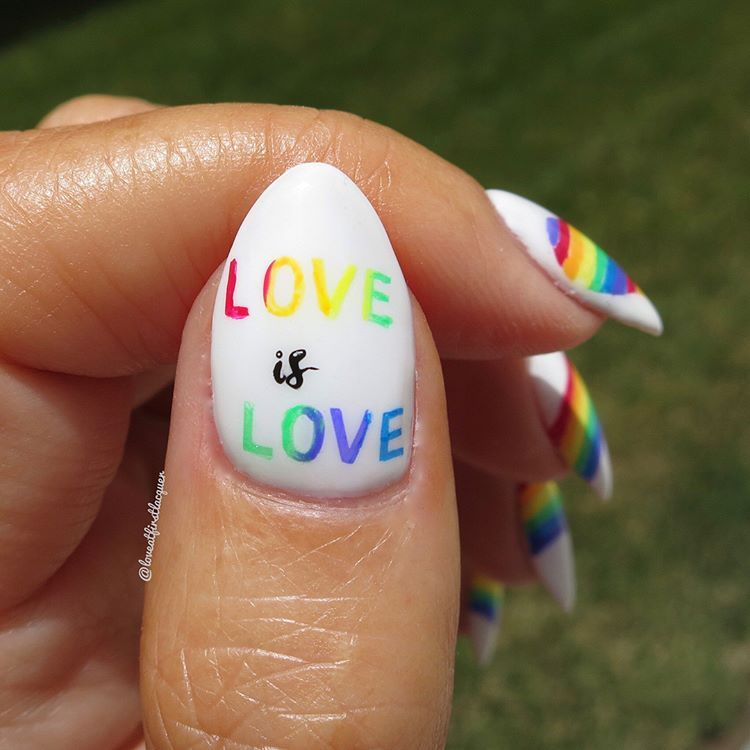 Pride Nails With Rainbow Love Is Love Nail Stamping Love Nails Rainbow Nails Nail Stamping