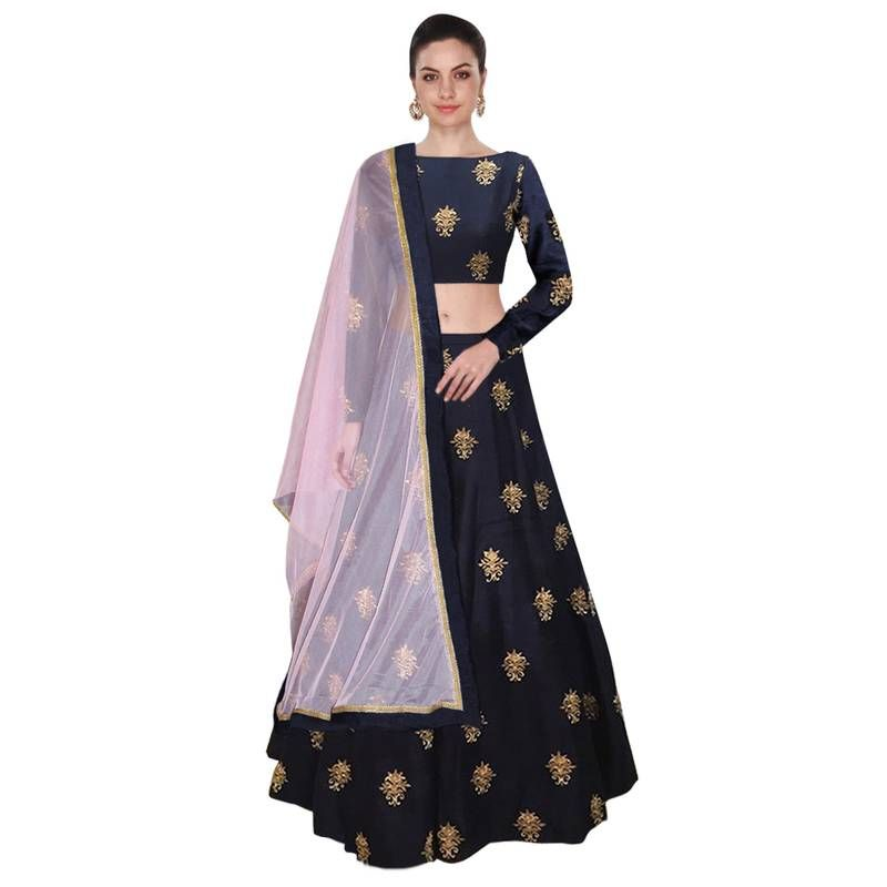 7ff2af56fe Buy Navy blue embroidered raw silk semi stitched lehenga choli material  with light pink net dupatta Online