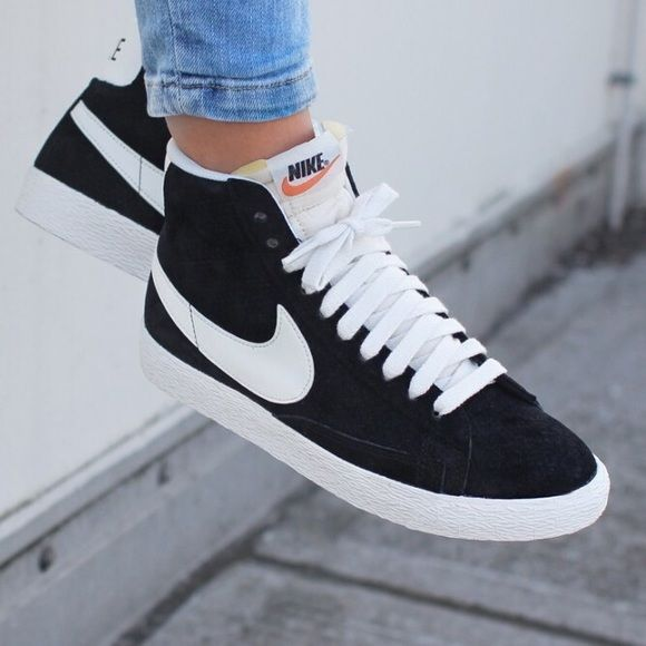 Nike Black Perforated Suede Blazer Sneakers The Nike Blazer Mid Suede  Vintage Women s Shoe is a remake of Nike s ground-breaking basketball shoe  from the ... 129c2e456d