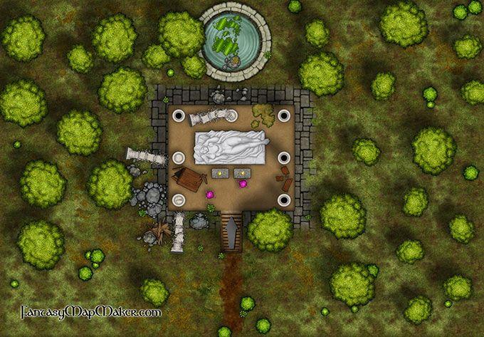 Abandoned Shrine Battlemap   RPG Maps   Fantasy map maker, Fantasy