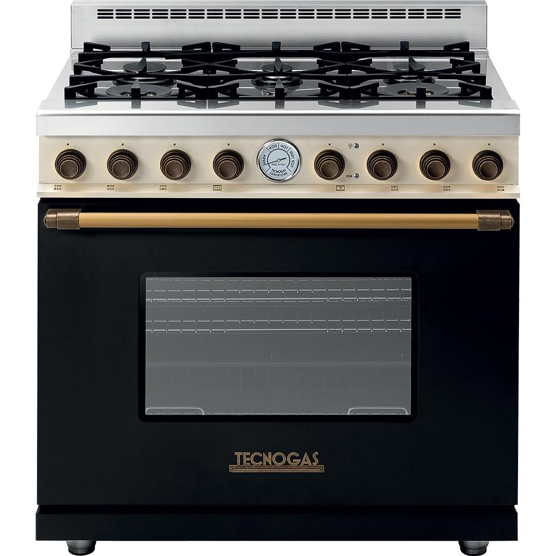 Tecnogas Superiore 36 Inch Deco Natural Gas Range With 6 Burners Black Dual Brass Rd361gcncb Bbqguys Gas Range Gas Oven Gas