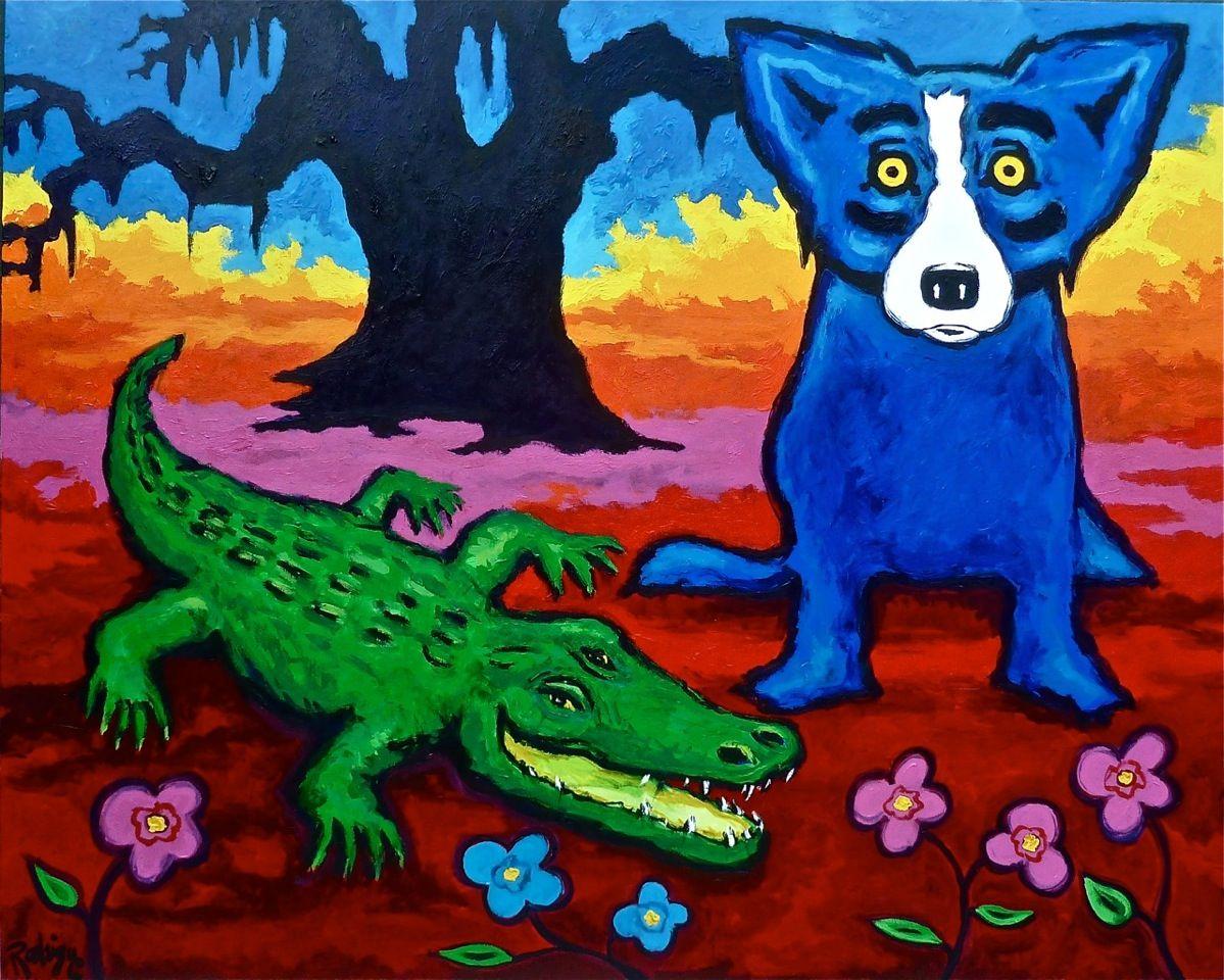 Blue dog green gator blue dog art blue dog painting
