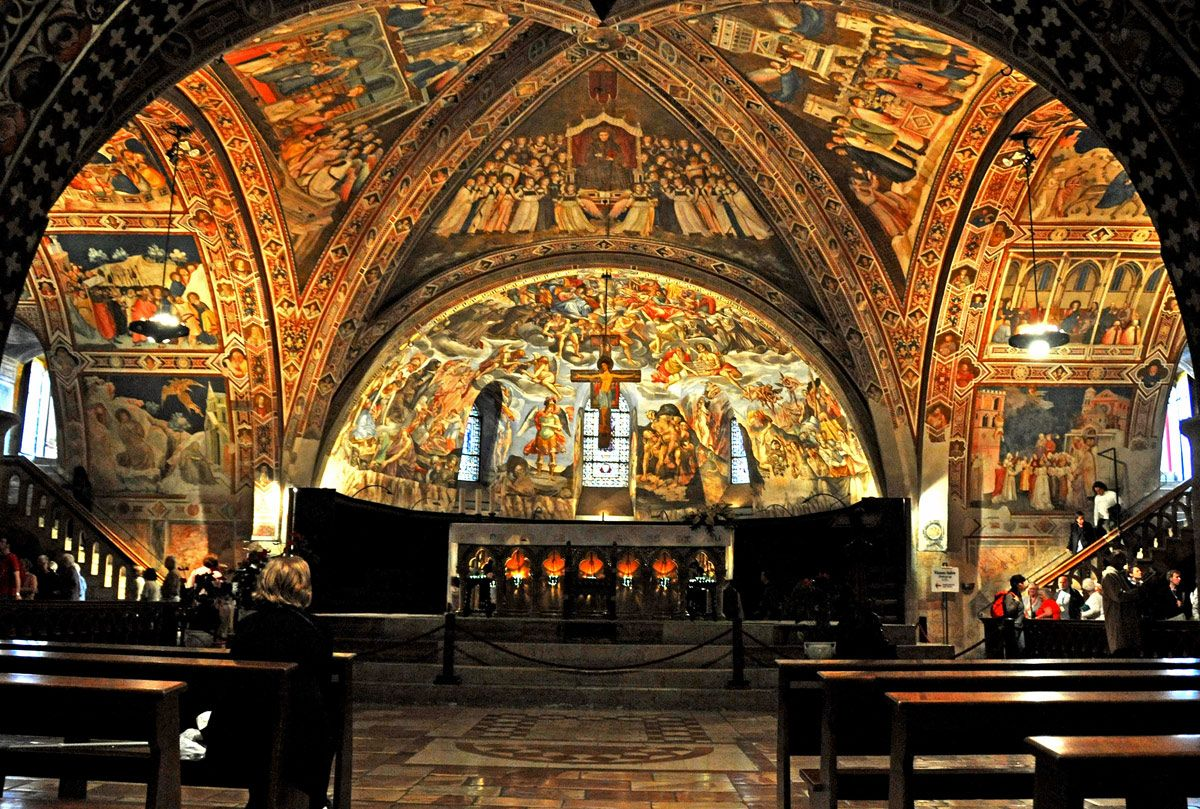 This is inside the Basilica of Saint Francis of Assisi, a church dedicated to the saint after whom Pope Francis chose his regnal name.