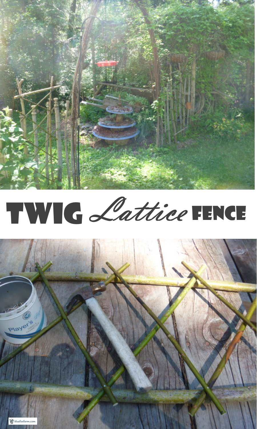 Twig Lattice Fence; unusual ways to build distinctive garden fences is part of Upcycled garden Art - Twig Lattice Fence is a distinctive and deceptively simple technique for building a unique rustic fence; with some wire and twigs, you can make your very own unusual garden fence