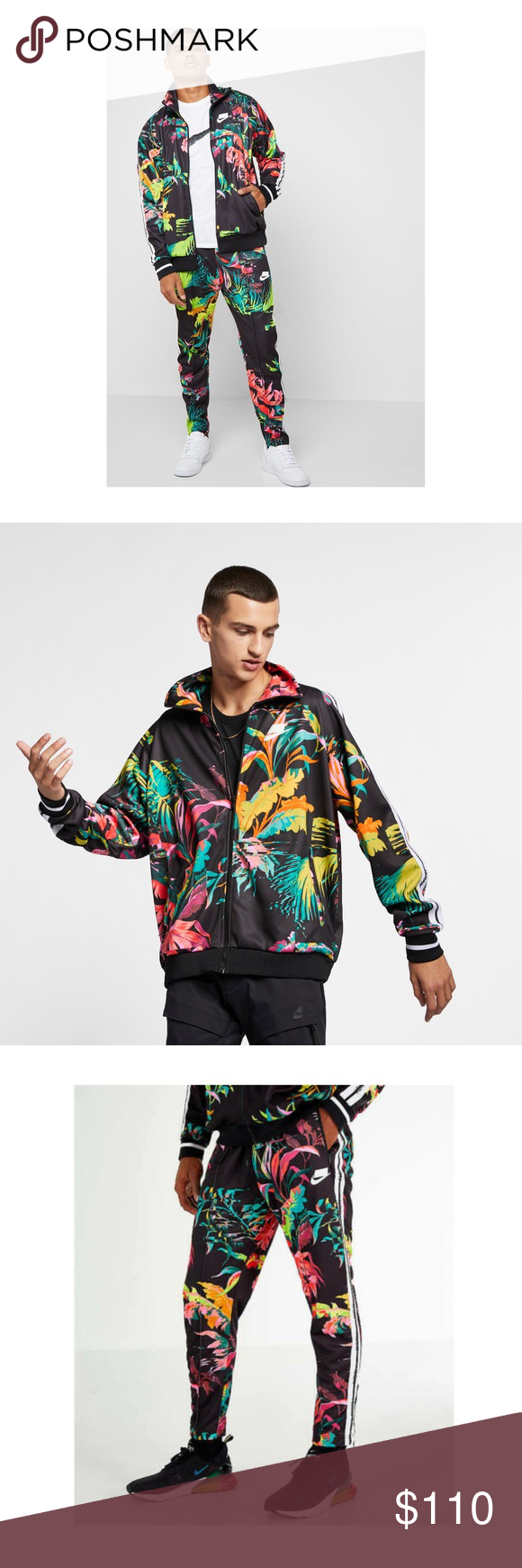 Nike track jacket in black floral print