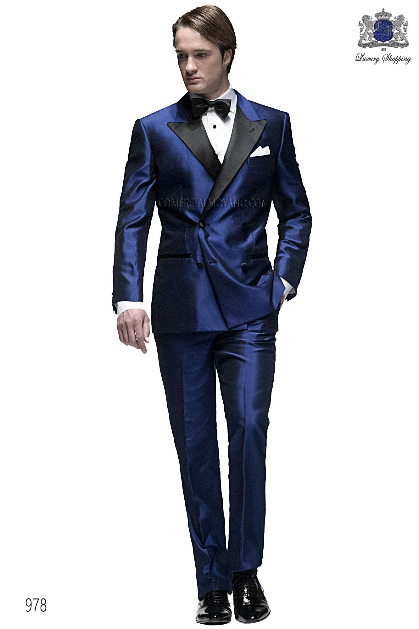 Italian bespoke suit, royal blue double breasted tuxedo in silk ...