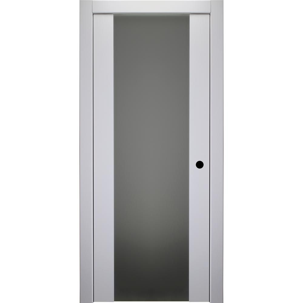 Belldinni 24 In X 80 In Smart Pro H3g Polar White Left Hand Solid Core Wood 1 Lite Frosted Glass Single Prehung Interior Door Prehung Interior Doors Frosted Glass Interior Doors Interior Closet Doors