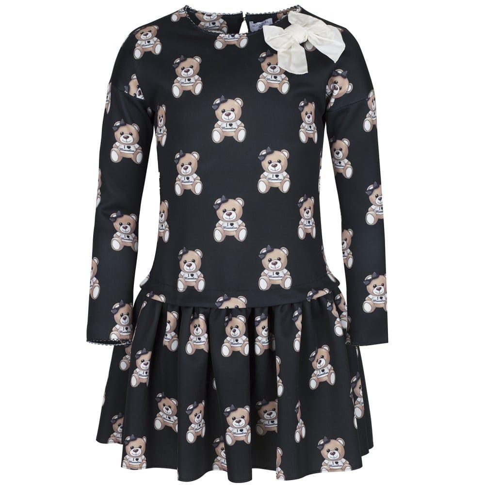 9ad982b77 Monnalisa Girls Black Bear Print Dress with Cream Bow Detailing ...