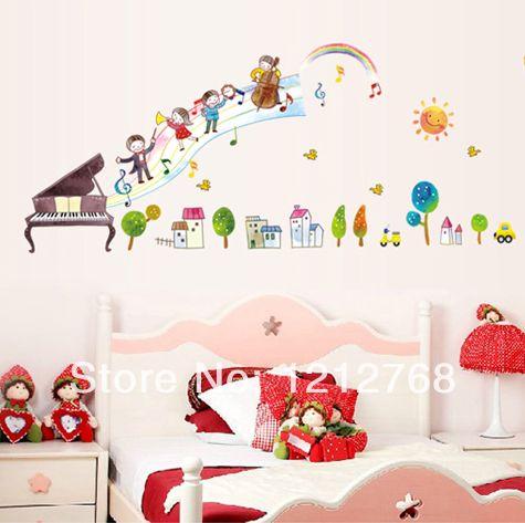Cartoon criança verdadeira decoração de piano notas musicais adesivos de parede