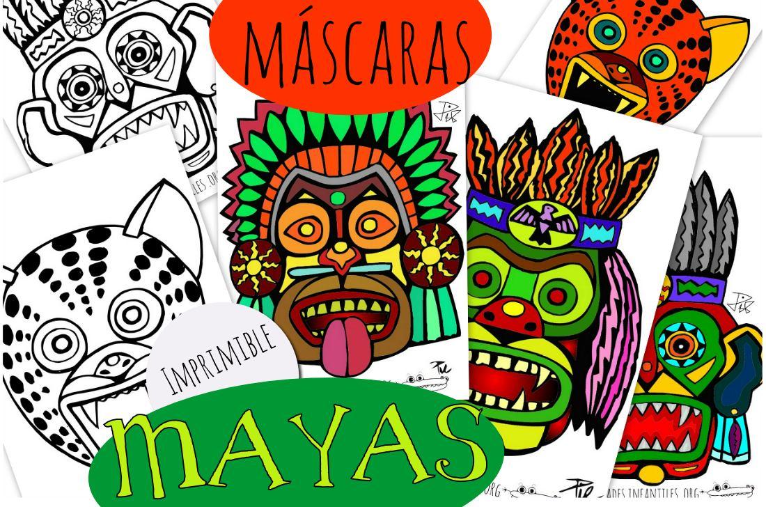 Mascaras Mayas Para Imprimir Y Colorear Actividades Para Ninos Manualidades Faciles Y Juegos Creativos Mascaras Mayas Mascaras Los Mayas Para Ninos