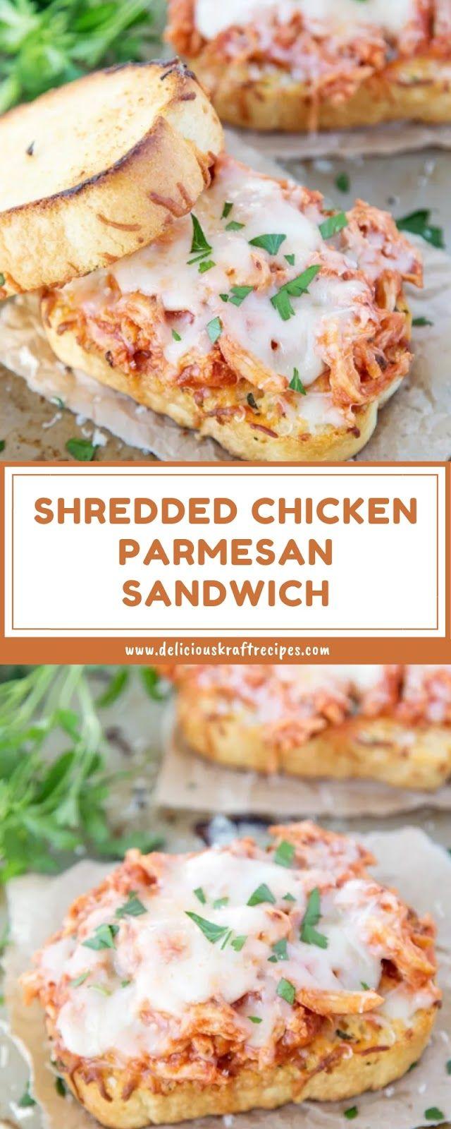 SHREDDED CHICKEN PARMESAN SANDWICH #chickenparmesan