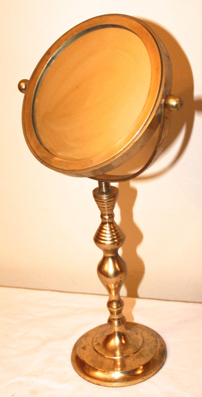 Vintage vanity mirror s gold metal standing makeup mirror