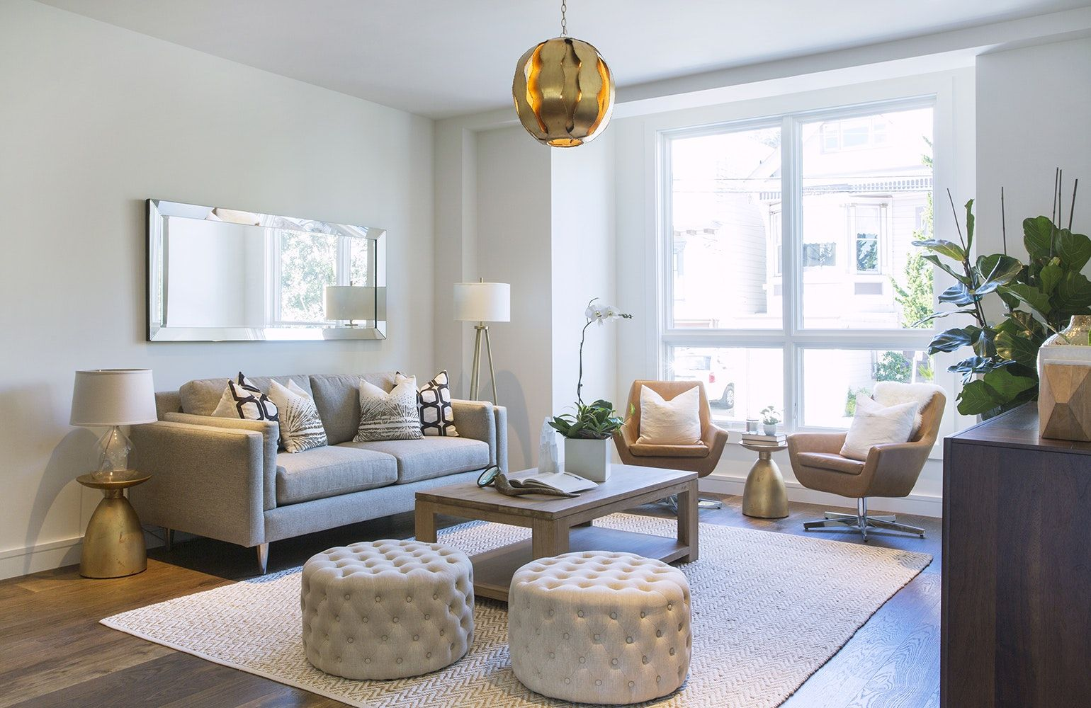 Designing With Round Ottomans Poufs Ottoman In Living Room