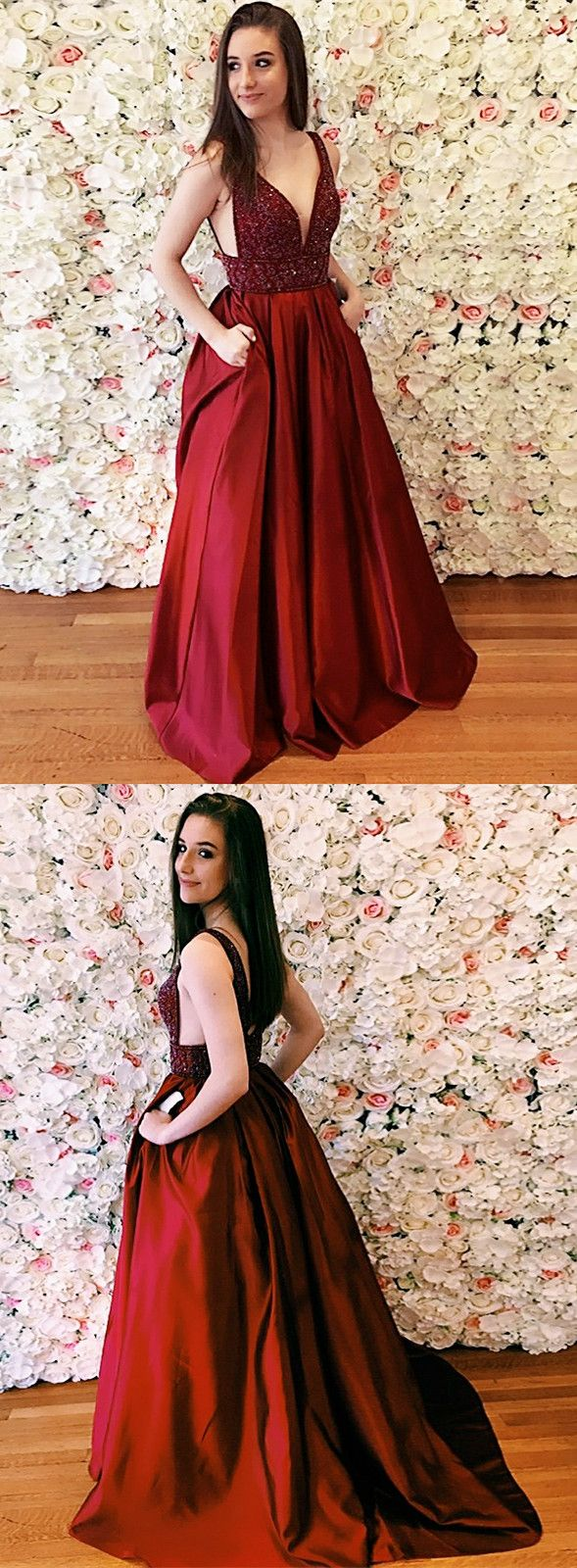 Princess wine red long prom dress prom dress gorgeous beads