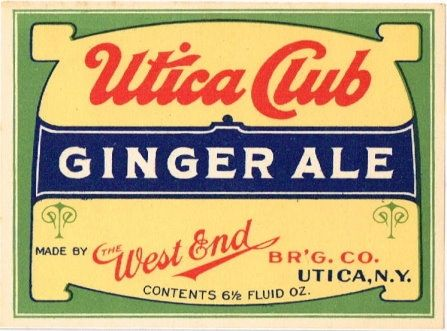 Labels Utica Club Ginger Ale West End Brewing Co. (Pre-Prohibition) New York New York United States of America  1920