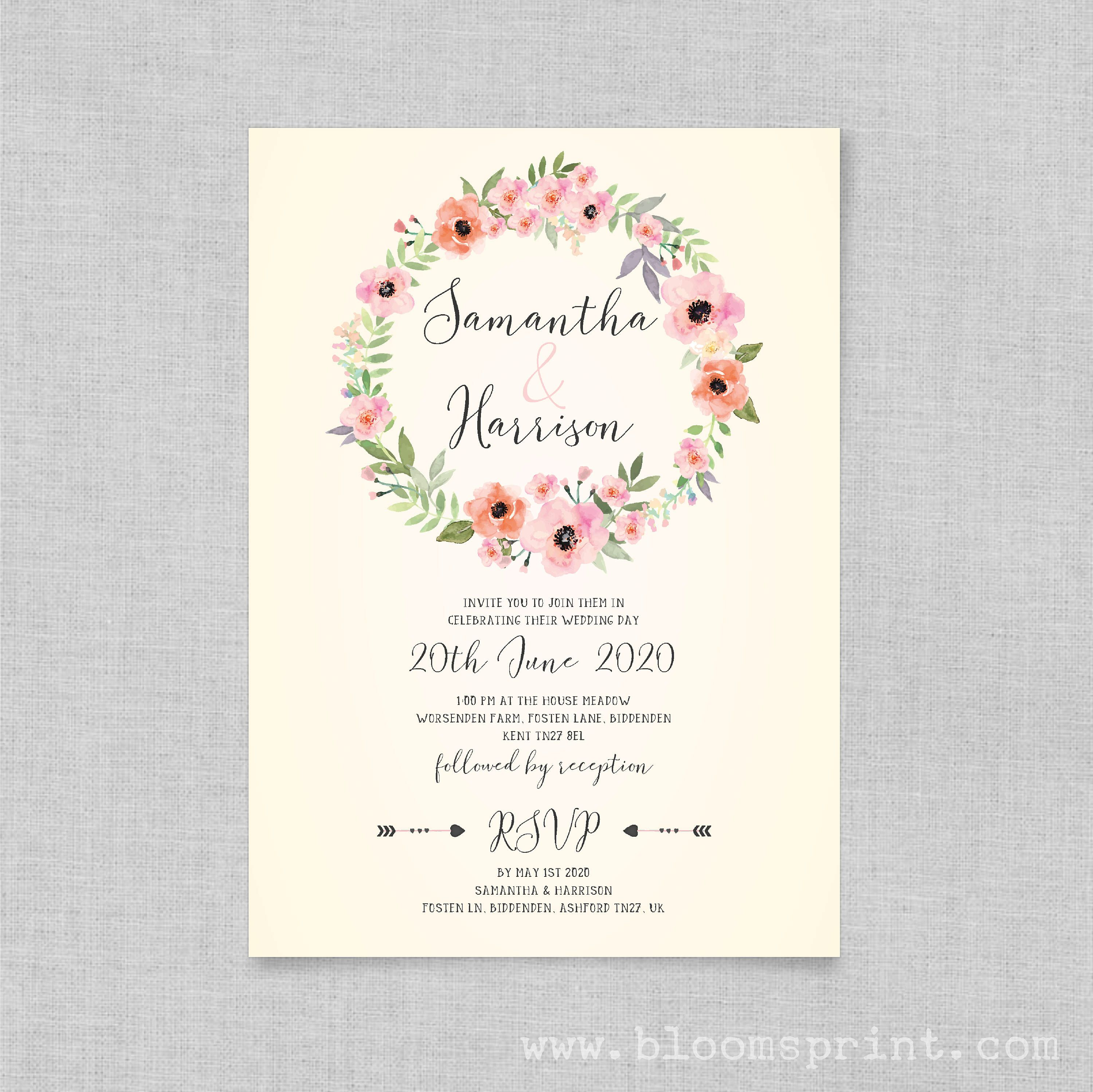 Floral rustic wedding invitations, Country wedding invitations ...