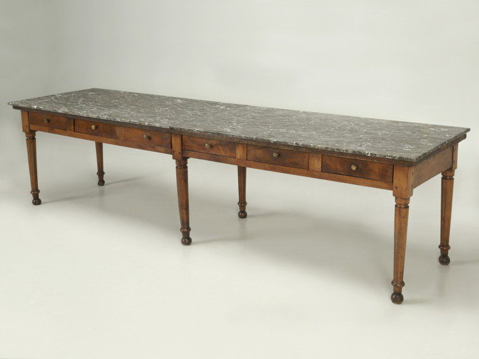 Antique French Dining Table With A Marble Top French Dining Tables