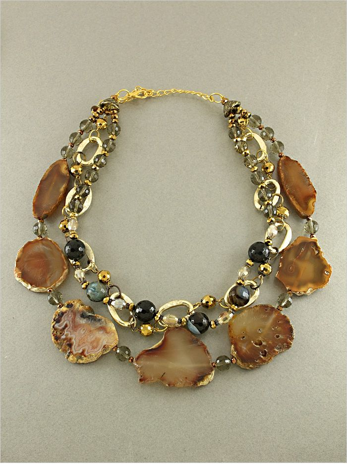 Chocolate Agate & Quartz Necklace