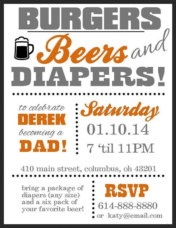 diaper party invitation burgers beers and diapers by wiseandtrue, Party invitations