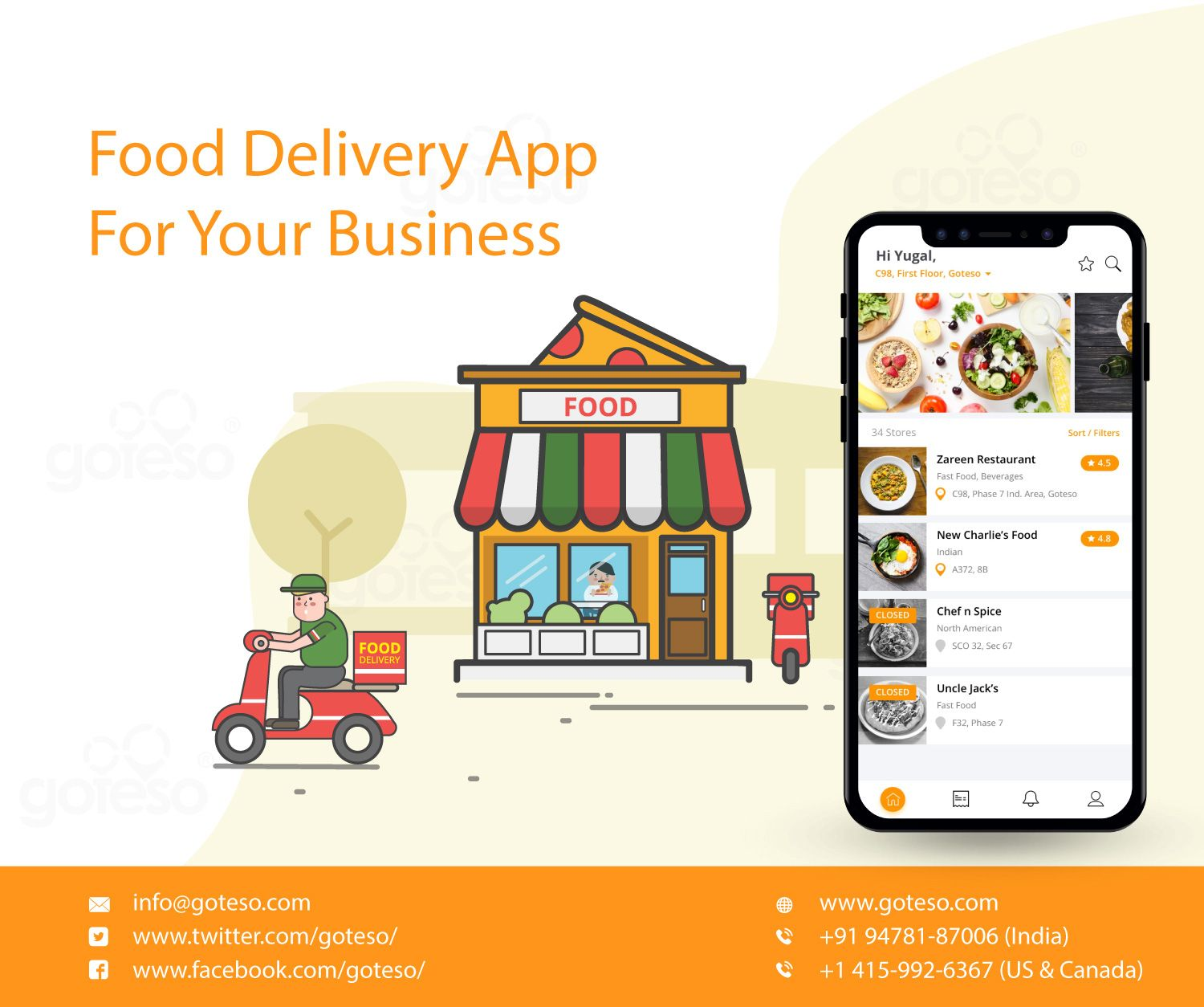 On demand food delivery app development company Goteso