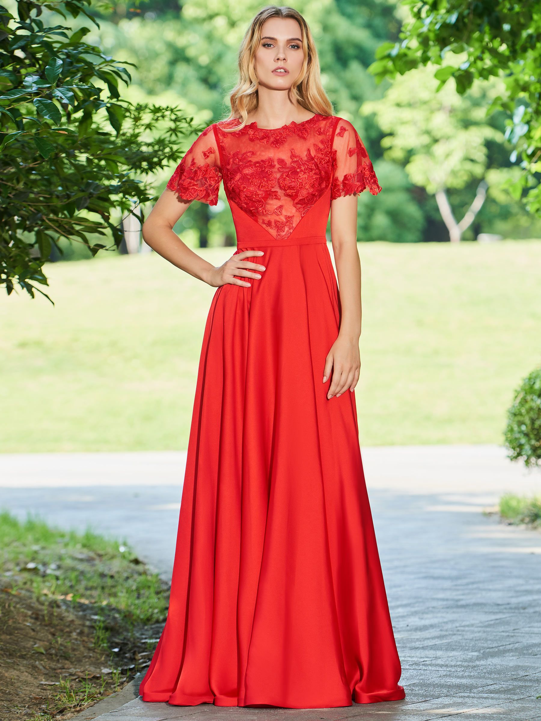 Aline button scoop lace long prom dress in clothes