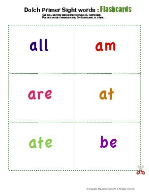 Worksheet   Dolch Primer Sight Words : Flashcards   Cut between ...