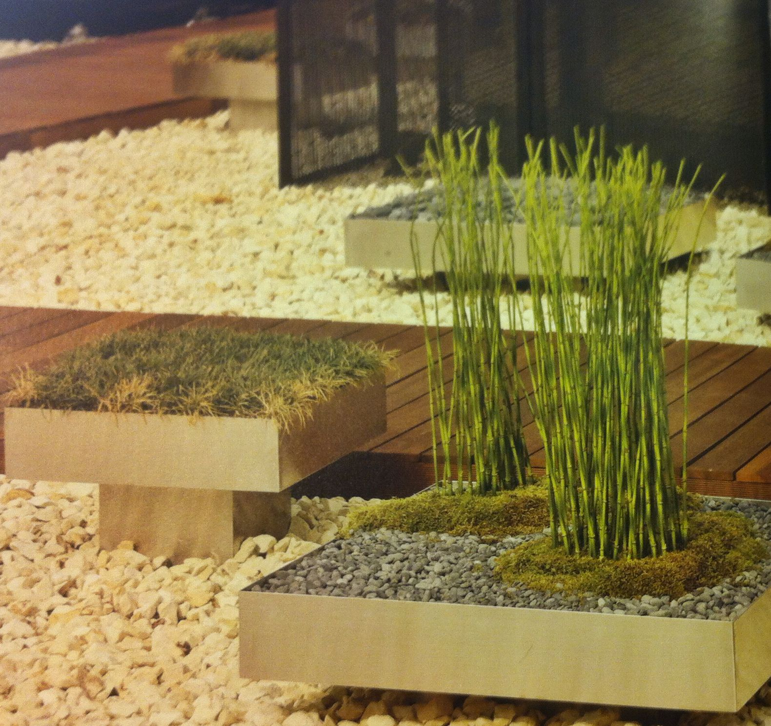Jardinera Japonesa Jardinera Movil Poco Profunda Con Vegetacion Acero Inox Pulido