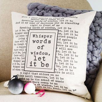 Personalised Lyrics Cushion Cover