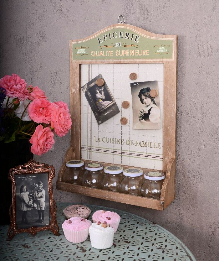 gew rzregal pinnwand memoboard k che shabby chic antik look ebay home deko basteln. Black Bedroom Furniture Sets. Home Design Ideas