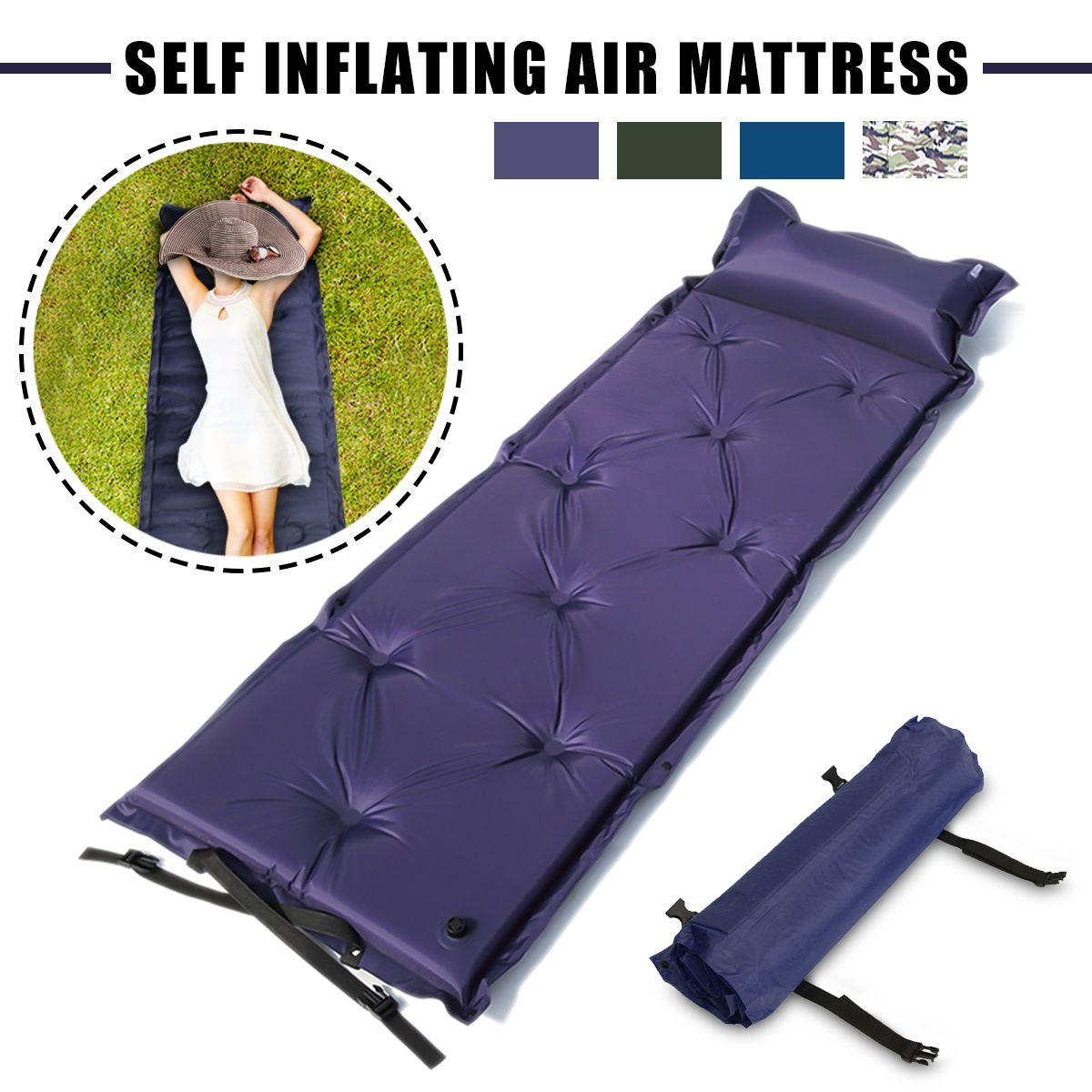 Outdoor Polyester Camping Self Inflating Air Mat Mattress Pad Pillow Waterproof Hiking Sleeping Bed 4 Colors Walmart Com Air Mattress Camping Inflatable Bed Mattress Pad