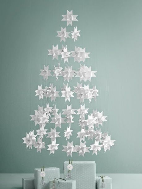 Good Beautiful White Floating Christmas Tree Made Out 3d Folded White Painted  Stars. Picture Made By