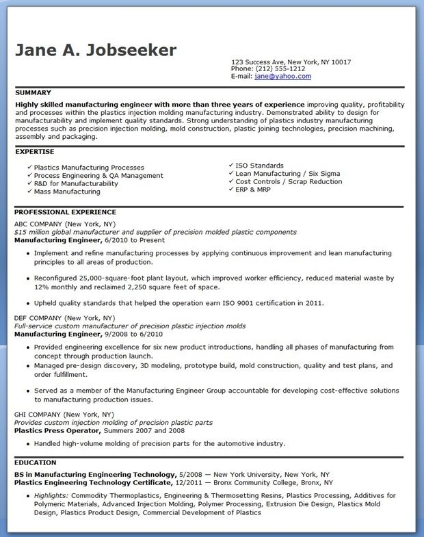 using manufacturing engineer resume examples for experienced professionals is a great way to learn how to create your own resume for your job search. Resume Example. Resume CV Cover Letter